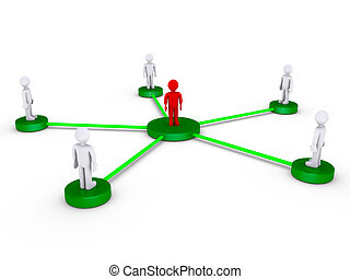 People connected using one intermediate - 3d people on...