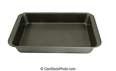 oblong non-stick cake pan on a white background