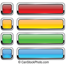 Vector rectangular buttons on white - Set of vector buttons...
