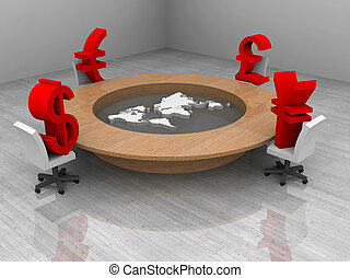 illustration of a conference room with trade currency and world map