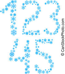 12345 letters - Five snowflake letters Vector illustration...