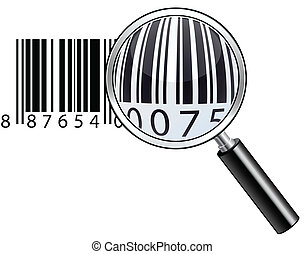 Glossy magnifying barcode - Vector illustration of...