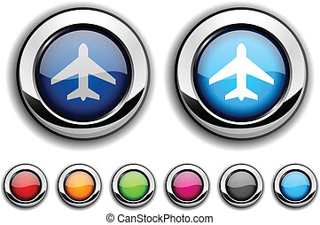 Aircraft button. - Aircraft realistic buttons. Vector...