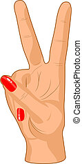 Victory sign. - Beautiful female hand. Vector illustration.