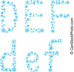 DEF letters. - .Three snowflake letters. Vector...