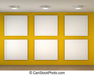 illustration of a empty museum with 6 empty frames