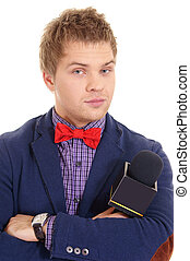 boy and microphone - cute young man with microphone on white