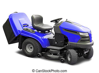 Blue lawnmower. Isolated over white  with clipping path