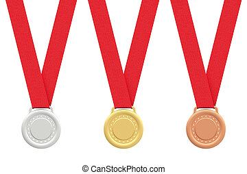 Gold, silver and bronze medals on white