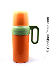 Orange Thermos - Orange thermos isolated on white background
