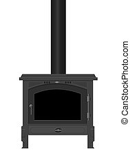 Wood Burning Stove. - Illustration of a typical interior...