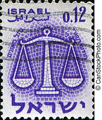 zodiac sign Libra - ISRAEL - CIRCA 1961: A stamp printed in...