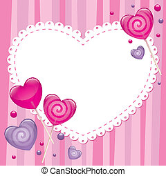 valentines day greeting card with lollipops, vector