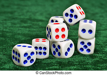 Dice on a baize - Dice on the green baize