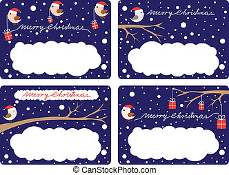 Christmas Gift Tags - Four illustrated gift tags with birds...