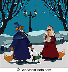 Foxes winter - Unexpected meeting with fine lady in park