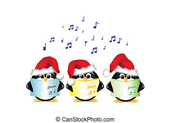 Carol singing penguins isolated - Winter cartoon penguins...
