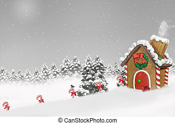gingerbread house in snow - Gingerbread house in snow with...
