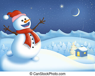 Happy snowman celebrating Christmas in the mountains by a...