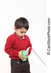 Young boy play with meter - Isolated on white young boy play...