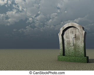 graveyard - gravestone with christian cross under cloudy...