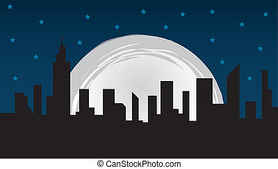 City Skyline - Nighttime city skyline and large moon