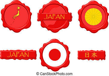 Japan Wax Stamp - Japan wax stamps with flag, seal, map and...
