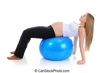 Beautiful pregnant woman sitting with exercise bal. Isolated...