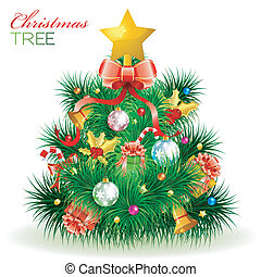 Christmas Tree with Candy, Fir Branches, Mistletoe, Gift,...