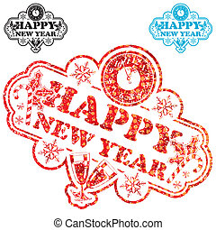 New Year Stamp with Clock and Glass isolated on white,...