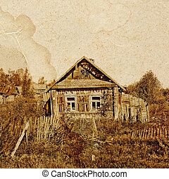 old house on old paper