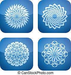 Flowers - Abstract Flowers Icons Set (part of the Cobalt...
