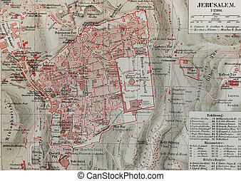 Jerusalem vintage map - The photo is from original Meyers...