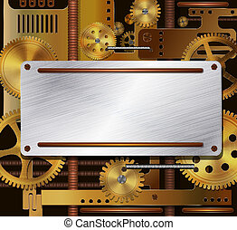 Vector mechanical background, steampunk style