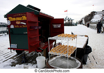 Quebec in winter - Ice Cream kiosk next to Chateau Frontenac...