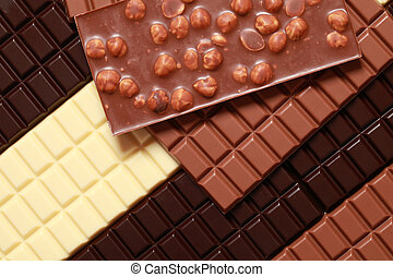 Different sorts of chocolate in a row