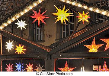star lights at christmas market, stuttgart - detail, at...