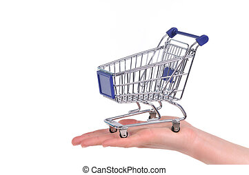 Shopping cart on a palm isolated