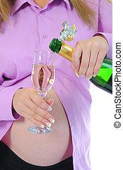 embarazada, mujer, Alcohol