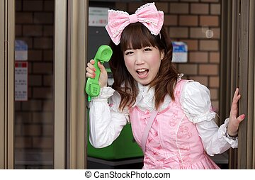 sweet japanese lolita phoning - japanese girl in sweet...