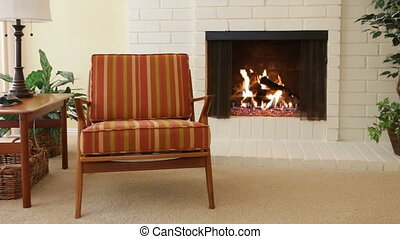 Chair next to fireplace