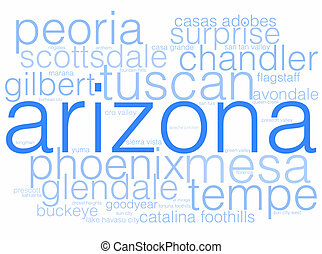 Arizona - A word cloud using the cities of Arizona.