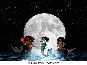 Mermaids swimming in the moonlight - Mermaids in the night...