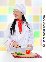 Chef cuts the tomato
