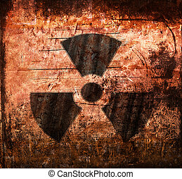 Radioactivity Sign on grunge wall