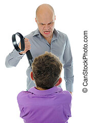 Strict father punishes his son Isolated on white background