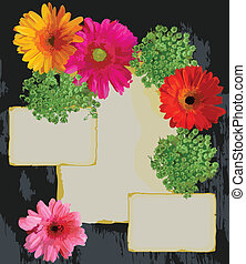 Vintage Paper and flowers frame