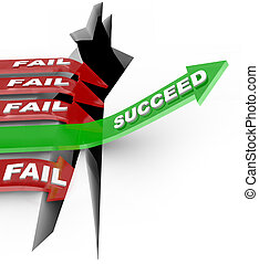 Success Arrow Jumps Chasm Failure Falls Into Hole - Several...