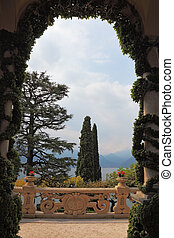 Lake Como in the haze - Magnificent park at the Italian...