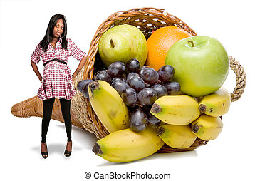 Pregnant Black Woman and a Fruit Cornucopia - Beautiful...